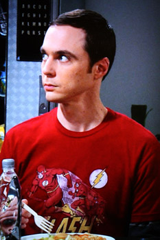 Sheldon Cooper wearing The Flash