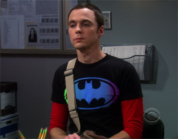 Sheldon Cooper wearing Batman Gradient