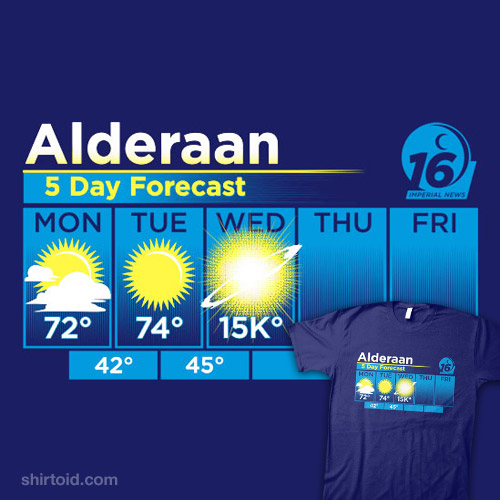 a585a391 Alderaan 5 Day Forecast | Shirtoid