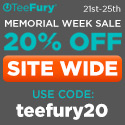 "Save 20% at TeeFury with code ""teefury20"""