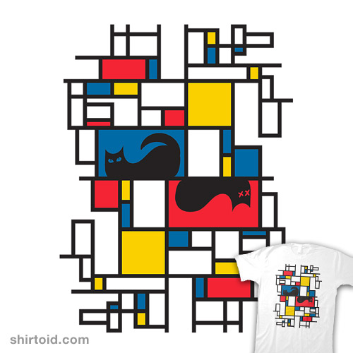 Schrodinger's Cat in the Style of Mondrian