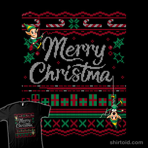 Ugly Holiday Sweater Tee 2018 – Hand Stitched by Elves