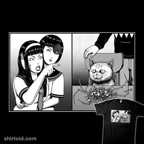 Gore Girl Yelling at a Creepy Cat